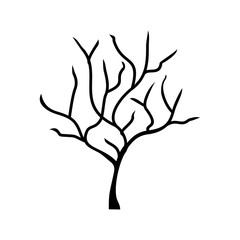 Silhouette tree without leaves vector