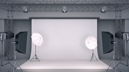 photo studio. 3d rendering Wall mural