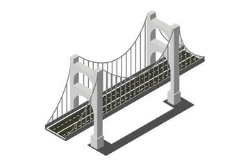 isometric bridges and vehicles, vector illustrations