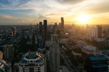 Modern building in Bangkok business district at Bangkok city with skyline before sunset, Thailand.