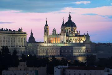 Printed roller blinds Madrid Madrid landmark at night. Landscape of Santa Maria la Real de La Almudena Cathedral and the Royal Palace. Beautiful skyline at Madrid, Spain.