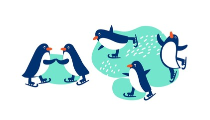 Penguins on skates, skating on ice. Illustration for holiday cards, posters For merry Christmas and New year in cartoon style. Vector illustration