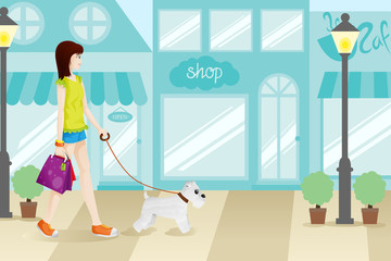 Shopping Woman with Her Dog Illustration