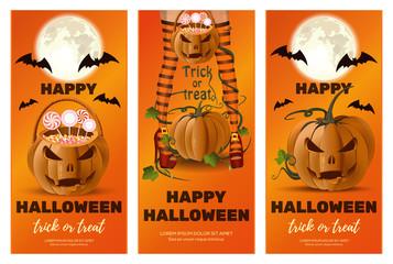 Vertical orange banners set for Halloween. Halloween design collection. Trick or treat. Vector illustration