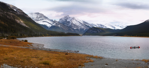 Panoramic view of Spray lakes reservoir in Alberta, Canada
