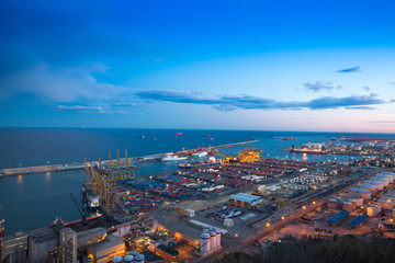 view of the night cargo port in spain