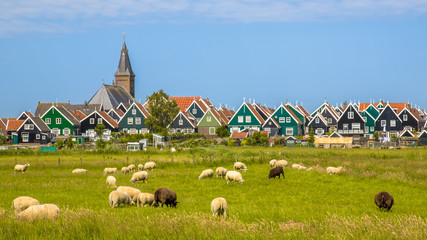 Historic dutch Village with colorful wooden houses