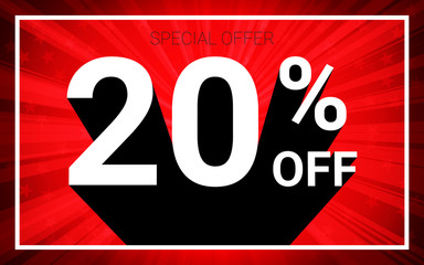 20% OFF Sale. White color 3D text and black shadow on red burst background design. Discount special offer promo advertising concept vector illustration.