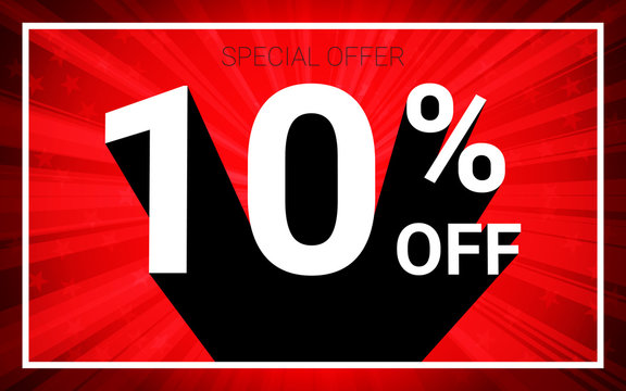 10% OFF Sale. White color 3D text and black shadow on red burst background design. Discount special offer promo advertising concept vector illustration.