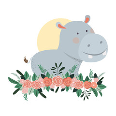 cute and adorable hippo with floral decoration
