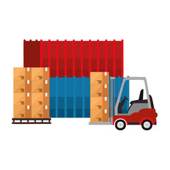 forklift vehicle with boxes and containers