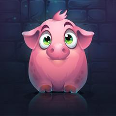 Vector cartoon big pig on a brick wall background