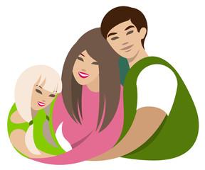 Asian Family hugs. Dad, mom, daughter cartoon flat illustration