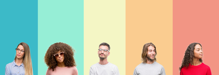 Collage of group of young people over colorful vintage isolated background smiling looking side and staring away thinking.