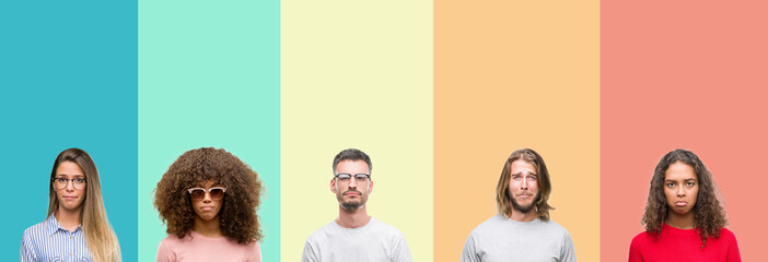 Collage of group of young people over colorful vintage isolated background depressed and worry for distress, crying angry and afraid. Sad expression.