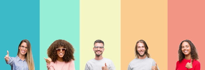 Collage of group of young people over colorful vintage isolated background doing happy thumbs up gesture with hand. Approving expression looking at the camera with showing success.