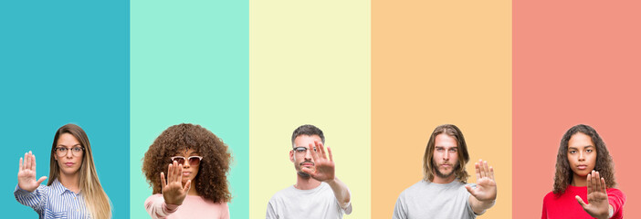 Collage of group of young people over colorful vintage isolated background doing stop sing with palm of the hand. Warning expression with negative and serious gesture on the face.