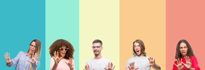Collage of group of young people over colorful vintage isolated background afraid and terrified with fear expression stop gesture with hands, shouting in shock. Panic concept.