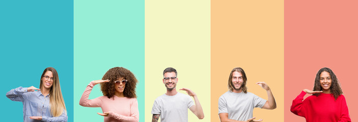 Collage of group of young people over colorful vintage isolated background gesturing with hands showing big and large size sign, measure symbol. Smiling looking at the camera. Measuring concept.