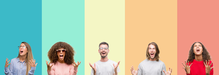 Collage of group of young people over colorful vintage isolated background crazy and mad shouting and yelling with aggressive expression and arms raised. Frustration concept.