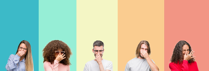 Collage of group of young people over colorful vintage isolated background smelling something stinky and disgusting, intolerable smell, holding breath with fingers on nose. Bad smells concept.