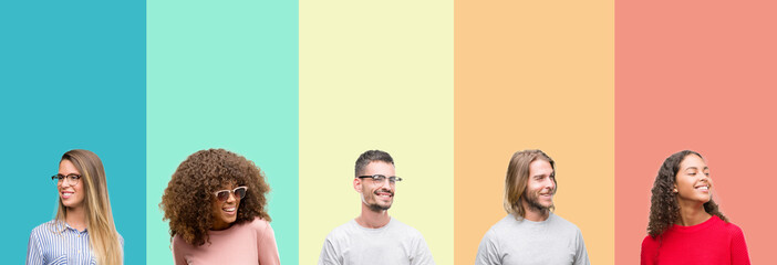 Collage of group of young people over colorful vintage isolated background looking away to side with smile on face, natural expression. Laughing confident.