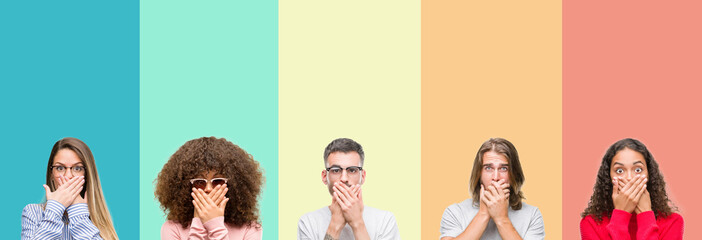 Collage of group of young people over colorful vintage isolated background shocked covering mouth with hands for mistake. Secret concept. Wall mural