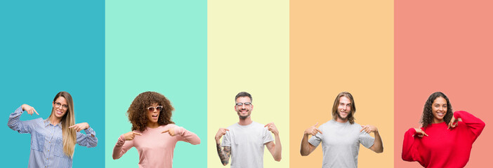Collage of group of young people over colorful vintage isolated background looking confident with smile on face, pointing oneself with fingers proud and happy.