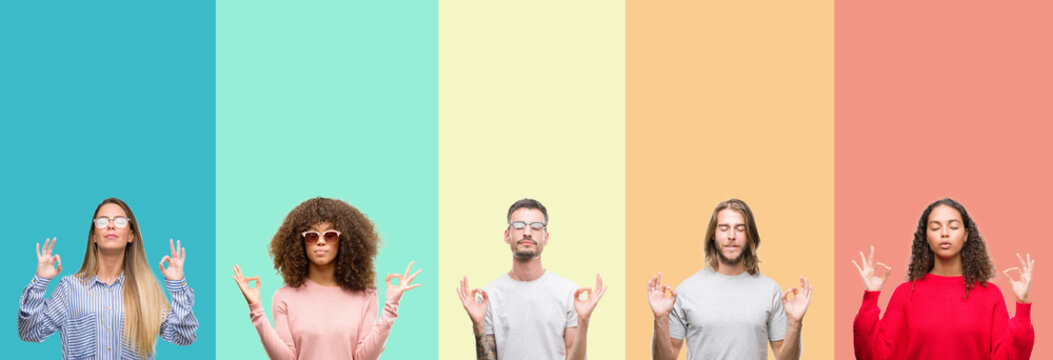 Collage of group of young people over colorful vintage isolated background relax and smiling with eyes closed doing meditation gesture with fingers. Yoga concept.