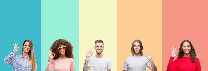 Collage of group of young people over colorful vintage isolated background smiling positive doing ok sign with hand and fingers. Successful expression.