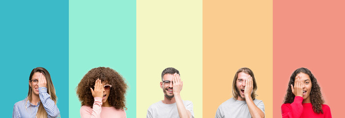 Collage of group of young people over colorful vintage isolated background covering one eye with hand with confident smile on face and surprise emotion.
