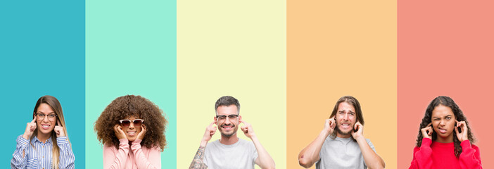 Collage of group of young people over colorful vintage isolated background covering ears with fingers with annoyed expression for the noise of loud music. Deaf concept.