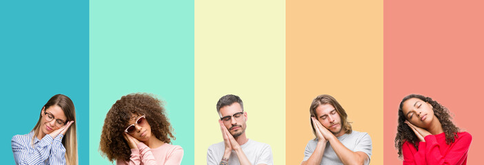 Collage of group of young people over colorful vintage isolated background sleeping tired dreaming and posing with hands together while smiling with closed eyes.