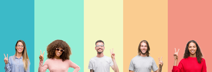 Collage of group of young people over colorful vintage isolated background showing and pointing up with fingers number two while smiling confident and happy. Wall mural