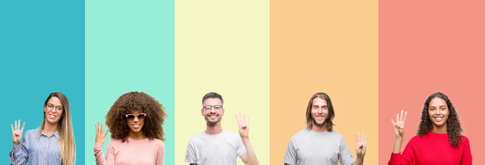 Collage of group of young people over colorful vintage isolated background showing and pointing up with fingers number four while smiling confident and happy.