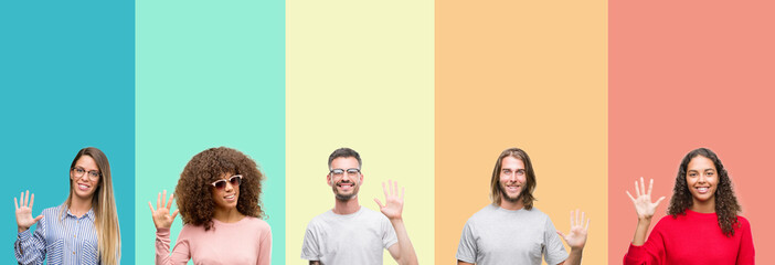 Collage of group of young people over colorful vintage isolated background showing and pointing up with fingers number five while smiling confident and happy.