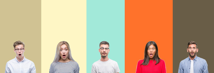 Collage of group of young people over colorful isolated background afraid and shocked with surprise expression, fear and excited face.