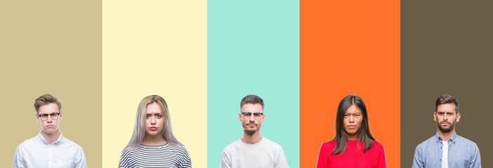 Collage of group of young people over colorful isolated background skeptic and nervous, frowning upset because of problem. Negative person.