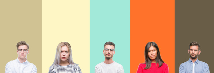 Collage of group of young people over colorful isolated background skeptic and nervous, disapproving expression on face with crossed arms. Negative person.