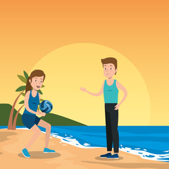 couple athletes practicing sports on the beach