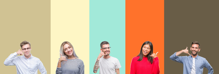 Collage of group of young people over colorful isolated background smiling doing phone gesture with hand and fingers like talking on the telephone. Communicating concepts.