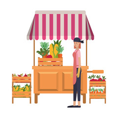 vegetable seller woman with kiosk isolated icon