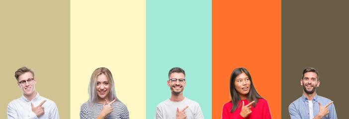 Collage of group of young people over colorful isolated background cheerful with a smile of face pointing with hand and finger up to the side with happy and natural expression on face