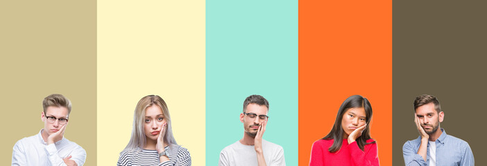 Collage of group of young people over colorful isolated background thinking looking tired and bored with depression problems with crossed arms.