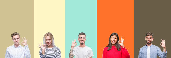Collage of group of young people over colorful isolated background smiling positive doing ok sign with hand and fingers. Successful expression.