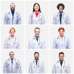 Collage of group of doctor people wearing stethoscope over isolated background with a happy and cool smile on face. Lucky person.