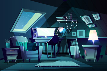 Vector illustration of girl s room at night. Cartoon garret with window, armchair with cushion and furniture. Cozy attic in moonlight with switched-on monitor, garland. Bedroom, living room background
