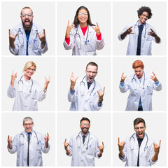 Collage of group of doctor people wearing stethoscope over isolated background shouting with crazy expression doing rock symbol with hands up. Music star. Heavy concept.