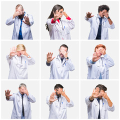 Collage of group of doctor people wearing stethoscope over isolated background covering eyes with hands and doing stop gesture with sad and fear expression. Embarrassed and negative concept.