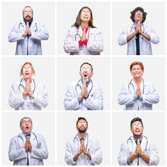 Collage of group of doctor people wearing stethoscope over isolated background begging and praying with hands together with hope expression on face very emotional and worried